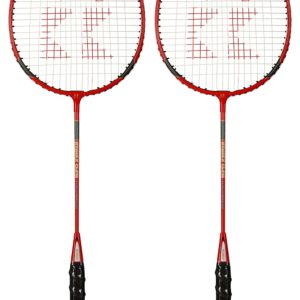 Aluminum Alloy Red & Black Pack of 2 Badminton Racquets with Full Cover-Yadav Sports Wear-Toys & Games -Bhopal