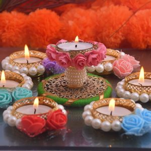 Artificial Flower Diya and Tealight Candle Set-Crafting Scissors-Home & Decor-Bhopal