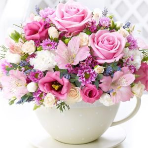 White Flower Pot with Colorful Roses & Orchids--Gifts-